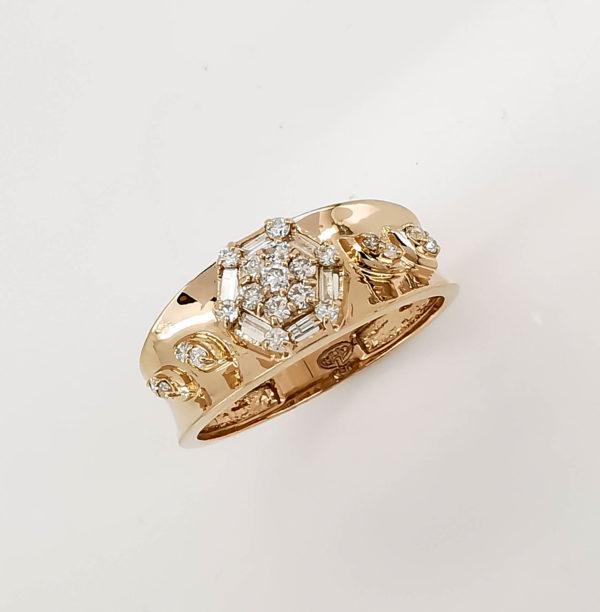 خاتم ذهب روز الماس مدور وباقيت