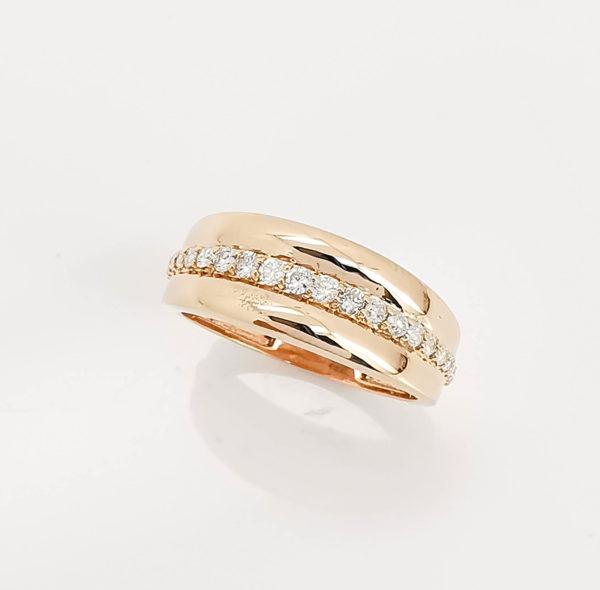 خاتم ذهب روز الماس مدور